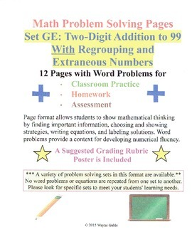 Math Problem Solving Set GE: Two-Digit Addi to 99 Regroupi
