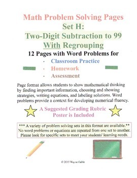 Math Problem Solving Set H: Two-Digit Subtraction to 99 Wi