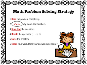 Freebie Math Problem Solving Strategy Poster