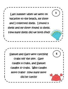 Math Problem Solving Task Cards - sea life theme