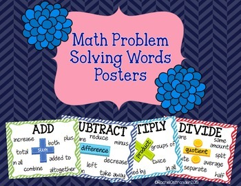 Math Problem Solving Words Posters