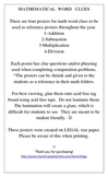 Math Problem Word Clue Poster Set for Add-Sub-Mult-Divi-
