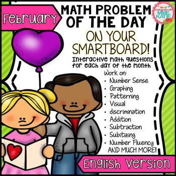 SmartBoard Math Problem of the Day: English - Valentine's
