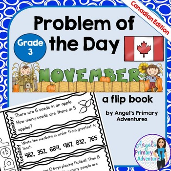 Math Problem of the Day for Grade 3:  November (Canadian Edition)