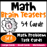 Math Task Cards: Math Problems and Math Brain Teasers Cards Set A