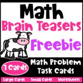 Math Problems and Math Brain Teasers Freebie