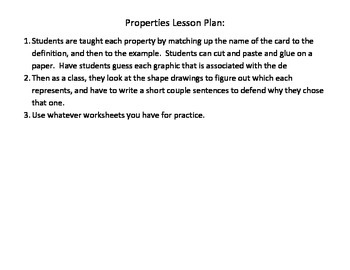 Math Properties (Creative way to Introduce)