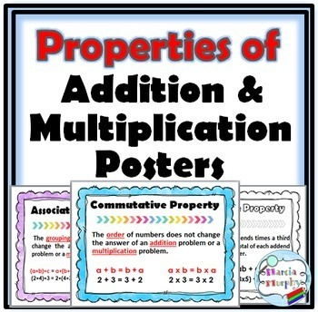 Math Properties of Addition and Multiplication Posters and