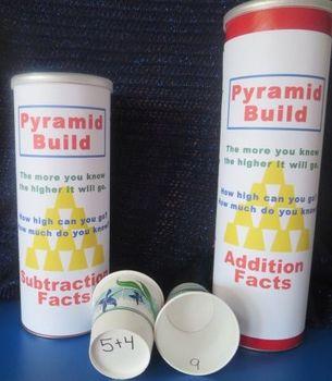 Math Pyramid Build - Addition, Subtraction, Multiplication