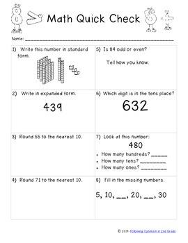 Math Quick Check Grade 2