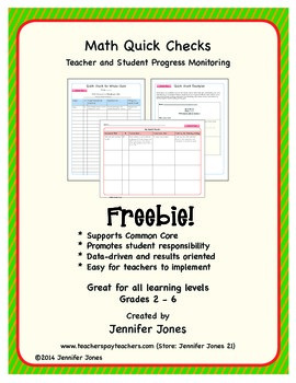 Math Quick Checks--Teacher and Student Progress Monitoring