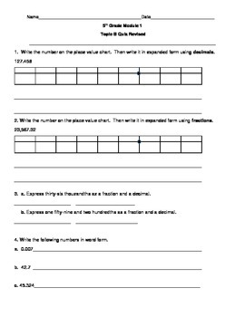 5th Grade EngageNY/Eureka Math Module 1 Topic B Quiz/Review