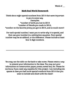 Math Real World New Year Project
