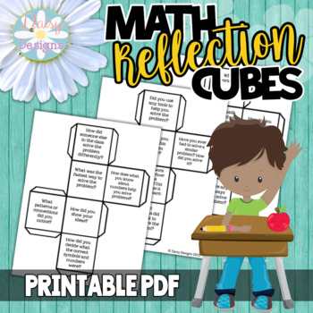 Math Reflection and Number Talk Cubes with Editable Text