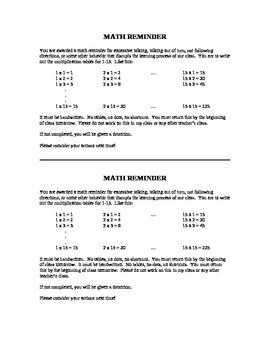Math Reminder - Behavior Intervention