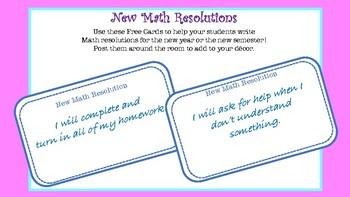 Math Resolution Cards