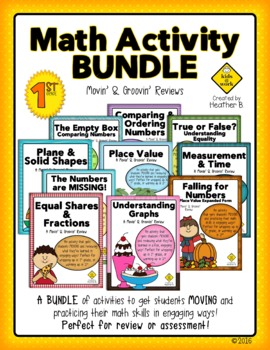 End of Level Test Prep Math Review Bundle for First and Se