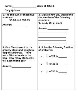 Math Review: Adding decimals, division, median, fraction o