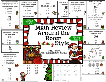 Math Review Around the Room Holiday Style: Second Grade Co