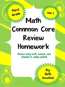 Math Review Common Core Homework Packet-Week 1