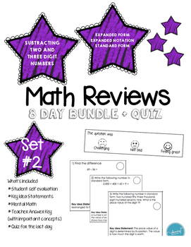 Math Review Set #2 (8 day bundle + Quiz)