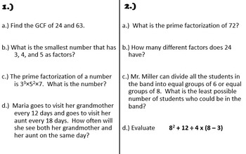 Math Review Stations - Various Topics