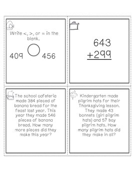 Math Review Task Cards with recording page AND Student Pra