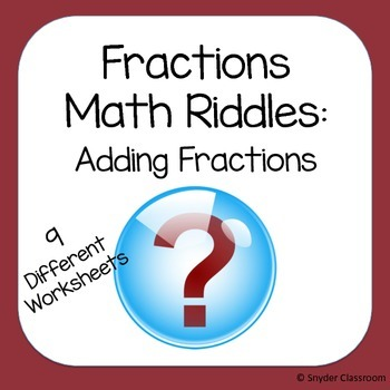 Adding Fractions Math Riddles