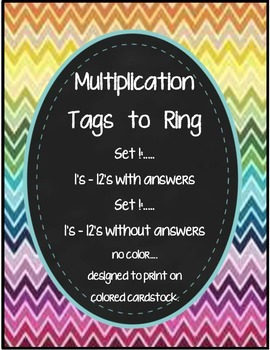 Math Multiplication Ringed Facts Tags - Plain
