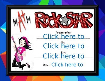 Math Rock Star Award girl 2
