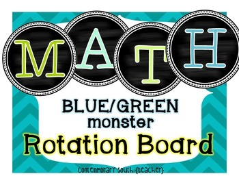 Math Rotation Board {Blue/Green Monsters}
