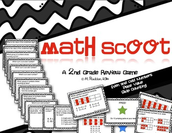 Math Scoot for 2nd Grade {Even & Odd Numbers, Place Value,
