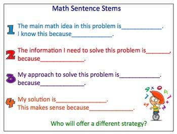 Math Sentence Stems for Problem Solving Process