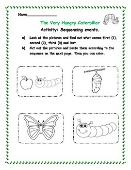 "Math - Sequencing events ""The Very Hungry Caterpillar"""