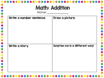 Math- Showing Understanding of Addition/Subtraction/Multip