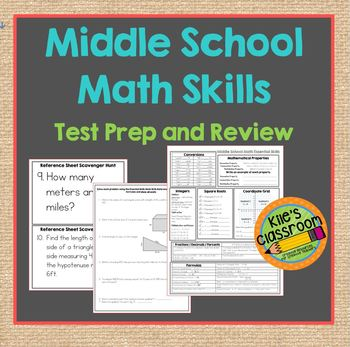 Middle School Math Skills Review- Reference Sheet - Study Guide