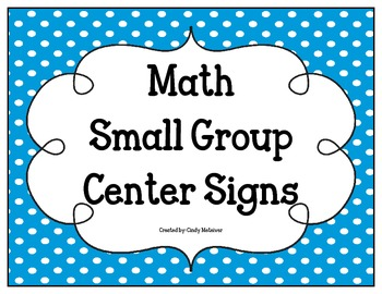 Math Small Group Center Signs- Blue with White Dots