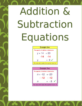 Math: Solving Addition & Subtraction Equations 4 pages 16