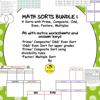 Math Sorts Bundle 1 with Prime, Composite, Odd, Even, Mult