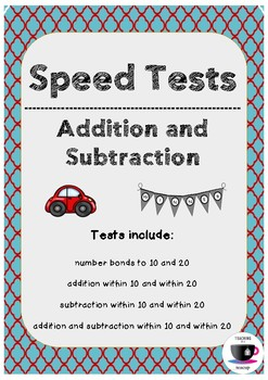 Math Speed Tests - Up to 10 and 20
