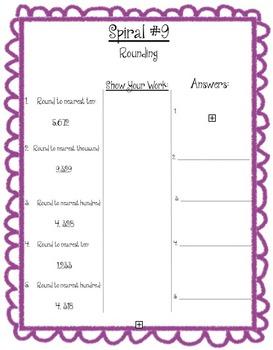 Math Spiral Review Week 1 & 2