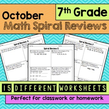 Math Spiral Review Worksheets 7th Grade Math -OCTOBER