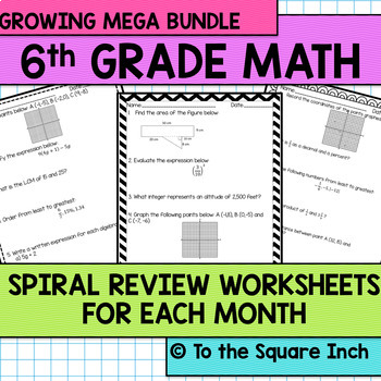 Math Spiral Review Worksheets for 6th Grade Math BUNDLE
