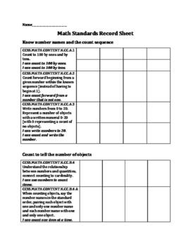 Math Standards Based Grading- Record Sheet