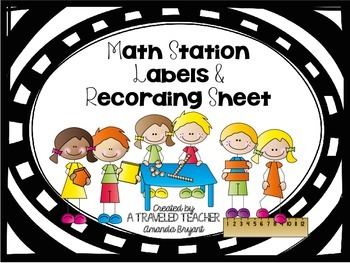 Math Station Labels and Recording Sheet