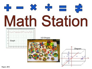 Elementary Literacy Center Sign: Math Station