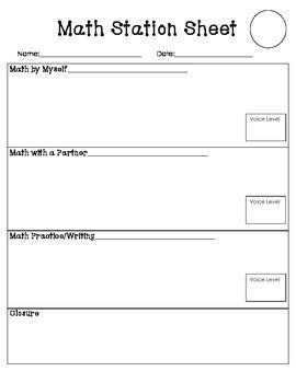 Math Station Recording Sheet