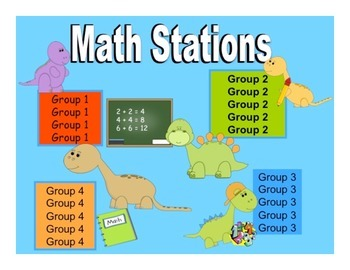 Math Stations - Dinosaur Themed automated powerpoint for s
