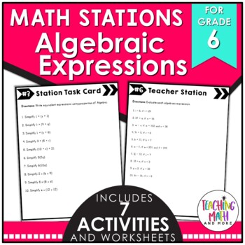 Math Stations: Equivalent Algebraic Expressions
