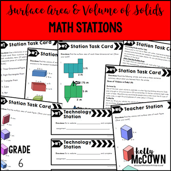 Math Stations: Surface Area & Volume of Solids